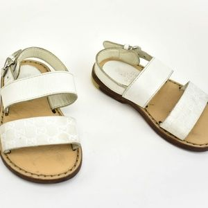 "GUCCI White, Leather & ""GG"" Logo, Flat Sandals"